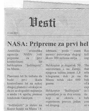 NASA: Pripreme za prvi helikopterski let na Marsu