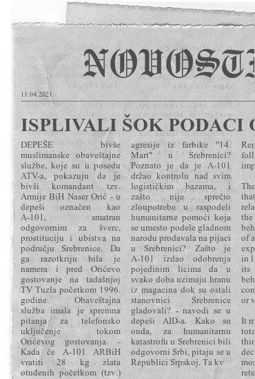 ISPLIVALI ŠOK PODACI O NASERU ORIĆU: Bivša muslimanska obaveštajna služba ga označila kao kriminalaca, ubijao i svoje u Srebrenici
