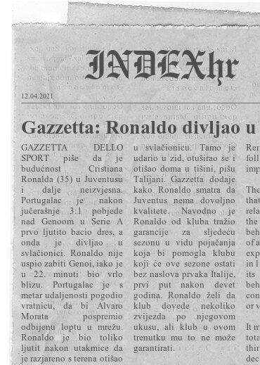 Gazzetta: Ronaldo divljao u svlačionici nakon Juventusove pobjede. Zna se i zbog čega