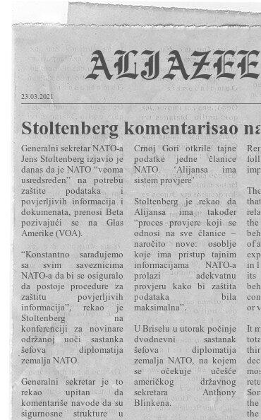 Stoltenberg komentarisao navode o curenju