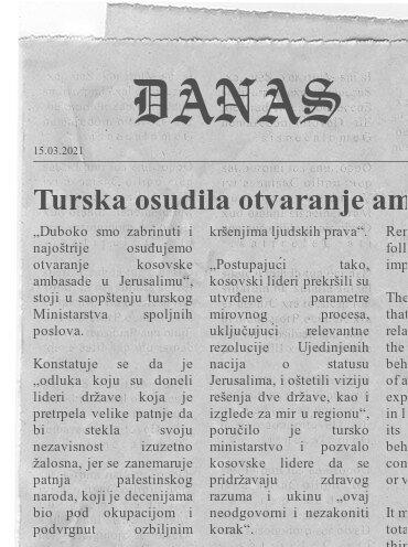 Turska osudila otvaranje ambasade Kosova u Jerusalimu
