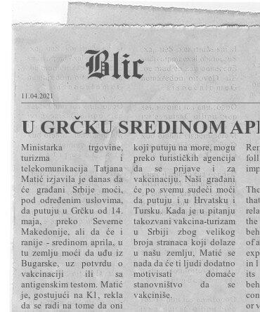 """U GRČKU SREDINOM APRILA Matić objasnila uslove odlaska na more: """"Prijava za vakcinaciju i preko turističkih agencija"""""""